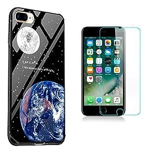 Sunroyal Vidrio Templado Pintado Cubierta Funda iPhone 7 PLUS / iPhone 8 PLUS 5.5 Pulgadas , todo shell irrompible Templado Resistente a Los Arañazos en su Parte ...