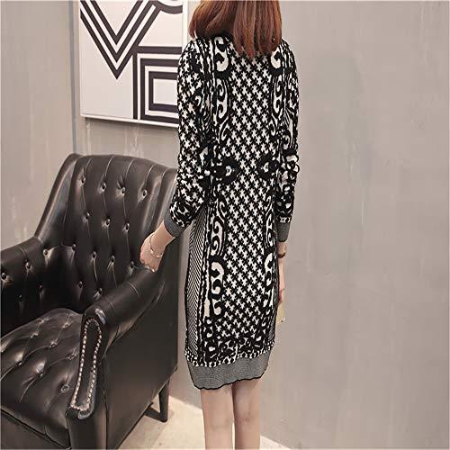 Loose Long Noir Femmes Sleeve Pull Large Sexy Glamour Long Jacquard Shirloy Knitwear Jacket H8wqZ0UgHT
