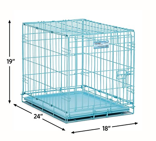 MidWest-iCrate-24-Blue-Folding-Metal-Dog-Crate-w-Divider-Panel-Floor-Protecting-Roller-Feet-Leak-Proof-Plastic-Tray-24L-x-18W-x-19H-Inches-Small-Dog-Breed