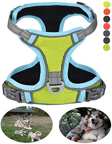 GAUTERF Dog Harness, Cat Escape Harness, Adjustable Reflector Corduroy Pet Harness (X Large, Fluorescent Green)