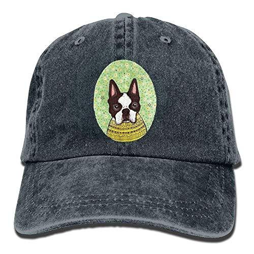 Cute Boston Terriers Bulldog Denim Hat Adjustable Women's Plain Baseball Hats