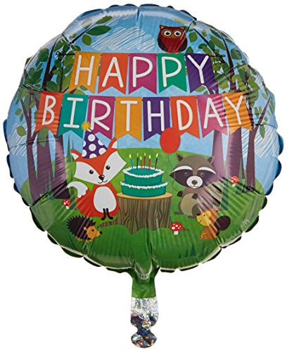Betallic 36178P Woodland Birthday Party Holographic Balloon Pack, 18