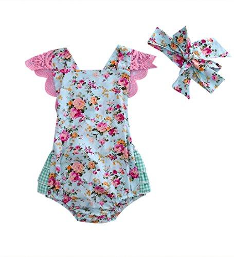 Newborn Baby Girl Floral Bodysuit+Headnband 2pcs Summer Flare Sleeve Fashion Jumpsuit 0-24Months (12-18 Months, Blue)