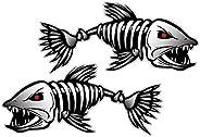 Pack of 2 Skeleton Fish Bones Vinyl Decal Sticker Kayak Fishing Boat Car Graphics Professional design