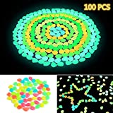 Ohuhu 100 PCS Colorful Glowing Garden Pebbles, Glow in The Dark Decorative Stones for Walkways & Decor, Solar Power Luminous Stones Glowing Rocks for Plants Pot, Fish Tank etc