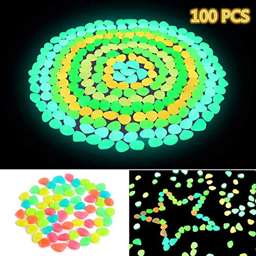 Ohuhu 100 PCS Colorful Glowing Garden Pebbles, Glow in The Dark Decorative Stones for Walkways & Decor, Solar Power Luminous Stones Glowing Rocks for Plants Pot, Fish Tank etc (Light Stepping Stone Solar)