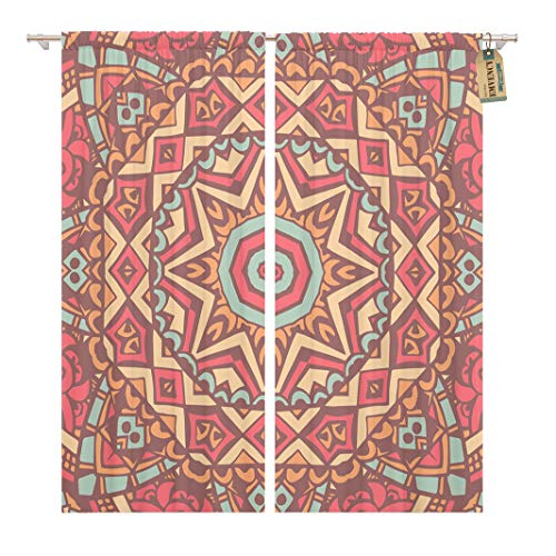 Golee Window Curtain Pattern Abstract Mosaic Tiles Ornamental Cute Pink Vintage African Home Decor Rod Pocket Drapes 2 Panels Curtain 104 x 63 inches