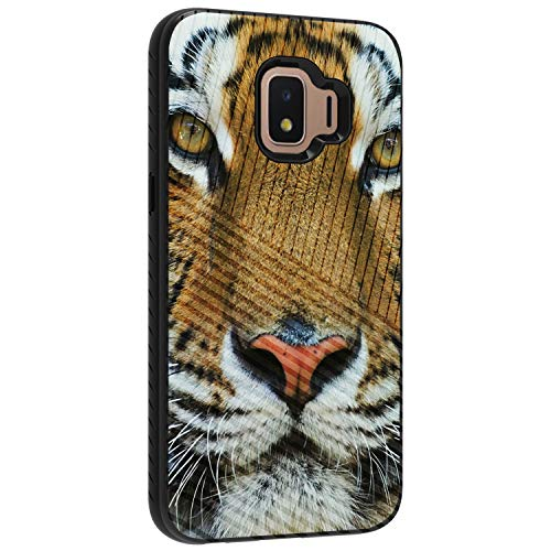 TurtleArmor | Compatible with Samsung Galaxy J2 Core Case | J2 Dash Case | J2 Pure Case | Engraved Grooves Shell Shockproof Hybrid Fitted TPU Case Animal Design - Tiger Stare