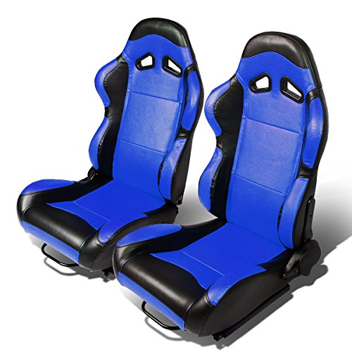- Set of 2 Universal Type-R PVC Leather Reclinable Racing Seats w/Sliders (Blue Body/Black Side)