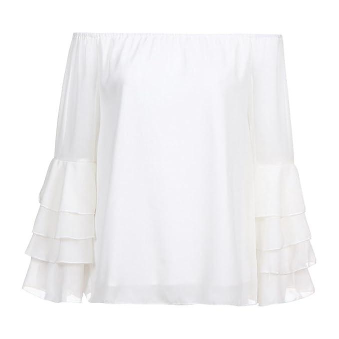 ABsolute Camiseta ❤ Blusa de chifón de Mujer con Hombros Descubiertos, Camisa de Manga Larga con Cuello en V para Mujer: Amazon.es: Ropa y accesorios