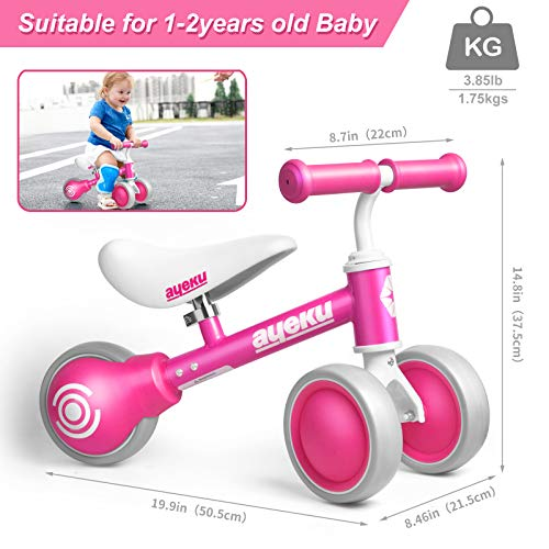 AyeKu Baby Balance Bike, Cool Toys Bike for 1 Years Old Boys and Girls as First Birthday Gifts with Adjustable seat and…