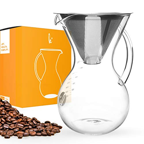 Pour Over Coffee Maker With Handle – Borosilicate Glass Manual Hand Pour-over Coffeemakers, Durable, Scratch Resistant, And Portable (27 oz – 5 Cup)