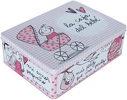 Laroom Caja metálica, Metal, Rosa: Amazon.es: Hogar