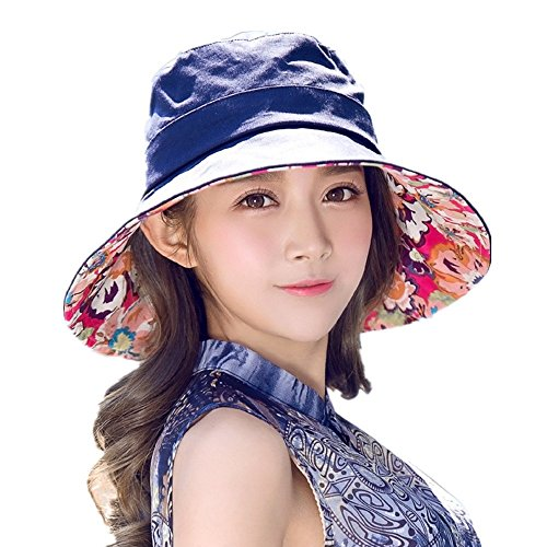 899c5747550 Galleon - Siggi Womens Cotton Bucket Boonie Sun Hat Summer Cap Foldable Wide  Brim UV SPF 50 Navy
