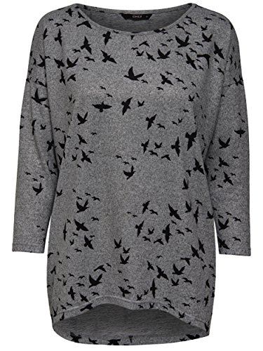 ONLY Damen Oversize Pullover Shirt onlELCOS 4/5 BIRDS TOP Strick Vögel Schwalben grau (DARK GREY MELANGE / BLACK BIRDS) MckZSYGCzj