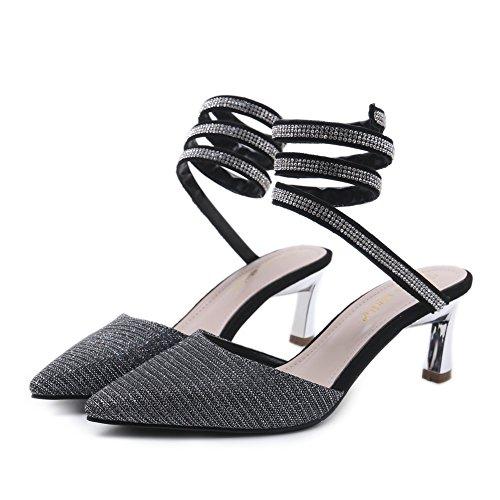 La Mujer Black Slingback Estilete Puntiaguda Clásico Talones Zapato Serpentina Zapatos Ponerse Corte Punta Zapatillas Alto Nvxie De d6aqfRd