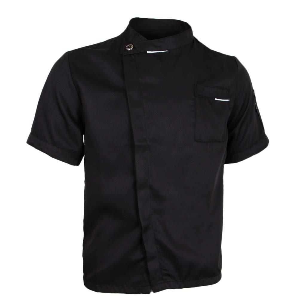 Baoblaze Uomo Uniforme Della Cucina Tunica Del Bottone Nascosto Camicia Del Cuoco Unico