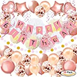 """59Pack Birthday Party Decorations, Rose Gold Birthday Banner, Birthday Decorations for Girls and Women Including """"HAPPY BIRTHDAY"""" Banner Foil Balloons Paper Pom Poms Confetti Balloon for 16th 18th 21st 25th 30th 50th 60th Party Supplies"""
