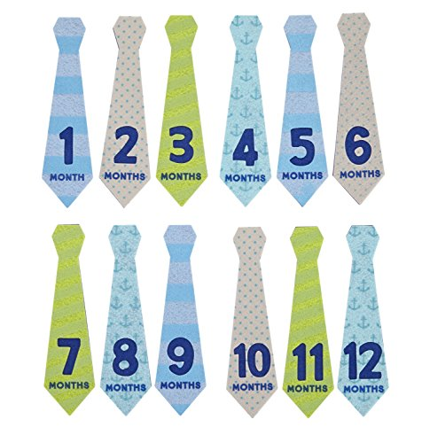 Album Tie - Pearhead Felt Necktie First Year Monthly Milestone Photo Sharing Baby Belly Stickers, 1-12 Months (Blue, Green, Gray)
