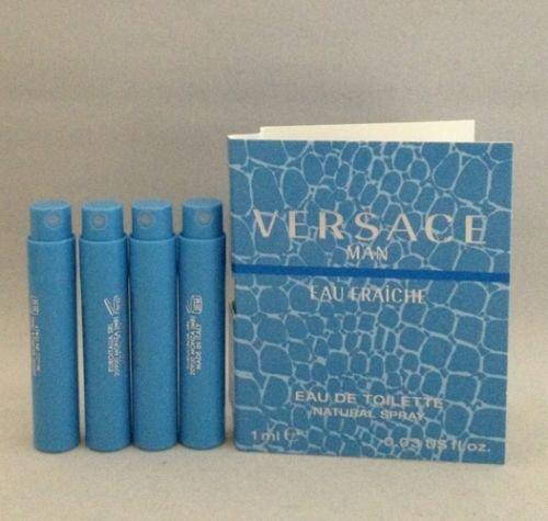 4 Versace Man Eau Fraiche EDT Travel Sample Spray Vial Lot .03 Oz/1ml Each USA