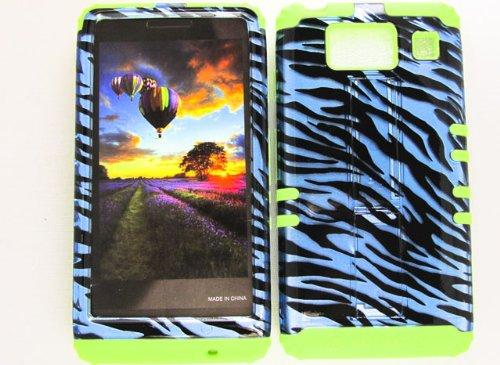 Motorola Green Transparent Faceplates (HYBRID IMPACT SILICONE CASE + LIME GREEN SKIN FOR MOTOROLA DROID RAZR HD XT926 TRANSPARENT BLUE ZEBRA)
