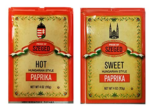 Pride of Szeged Hungarian Style Sweet Delicacy Paprika (4 oz) and Hot Paprika (4 oz)