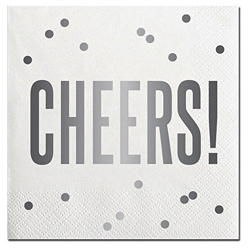 Cheers Lunch Napkins (20 Count Silver Napkins / Cheers Cocktail Beverage Napkins - For Weddings, Toasts, Parties, Holidays - 5 Inches)