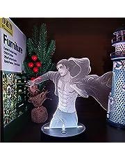 3D Led Nattlampa Illusion Skrivbordslampa Titans Eren Jaeger Anime Shingeki No Kyojin Dekorativt sovrum-16 färger med fjärrkontroll