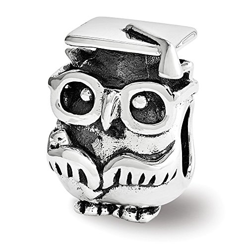(Sterling Silver Graduation Owl Bead Charm)
