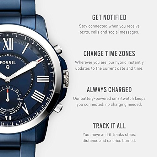 1c78aae1b3e3 Amazon.com  Fossil Hybrid Smartwatch - Q Grant Navy Blue Stainless Steel   Watches
