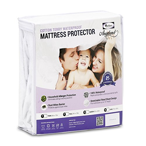 Furinno Angeland Terry Cloth Waterproof Mattress Protector, Queen, White