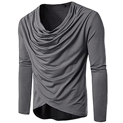 Abetteric Mens Pure Color Irregular Piles Collar Hip-Hop Pullover Tees Top supplier