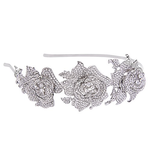 EVER FAITH Silver-Tone Austrian Crystal Romantic 3 Rose Flowers Bride Hair Head Band Clear