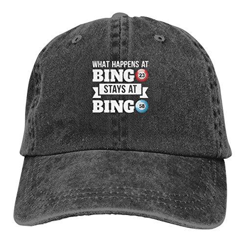 What Happens at Bingo Stays at Bingo Cowboy Caps Dad Baseball Hats Women's Men]()