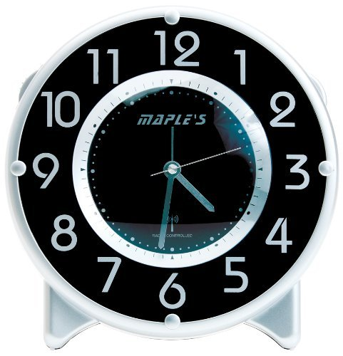 Maple's Streamline Table Alarm Clock, Atomic Time Sync, Black Face by Maple's Clock -