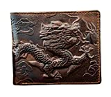 Vintage Dragon Genuine Leather Bifold slim Card Holder Money Clip Wallet Purse