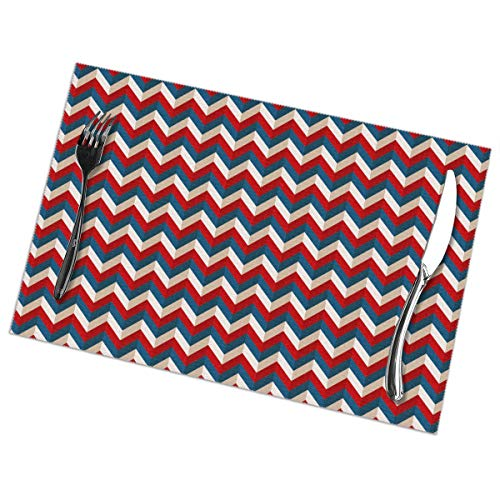 NALANC Retro Red Blue American Patriotic Colors Fashion Placemats for Dining Table Set of 6 Heat-Resistant and Skid-Proof Table Mat 12x18 in