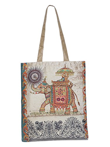 ShalinIndia Digital gedruckter Einkaufstasche-Taschen-Satz von 3 kleiner mittlerer großer Faux-Silk Dupion, Elefant mit Mahawat