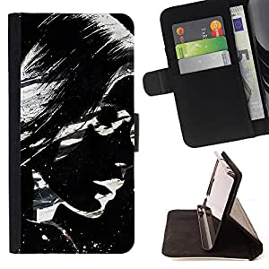 BullDog Case - FOR/HTC One M9 / - / sunglasses girl woman art painting lips /- Monedero de cuero de la PU Llevar cubierta de la caja con el ID Credit Card Slots Flip funda de cuer
