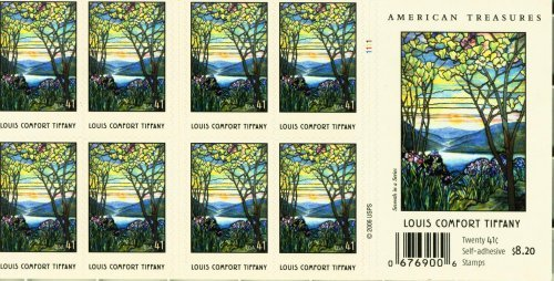 Louis Comfort Tiffany Pane of 20 x 41 U.S. Postage Stamps (Magnolias And Irises By Louis Comfort Tiffany)