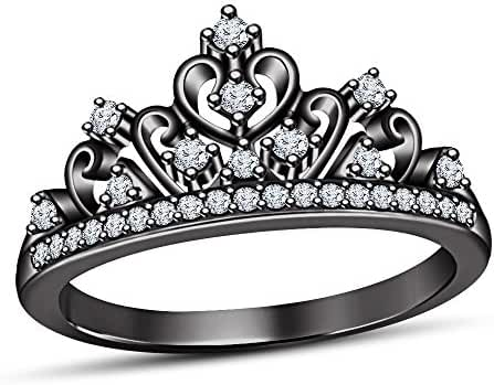 TVS JEWELS 925 Sterling Silver Black Rhodium Plated Round Cut CZ Crown Princess Ring