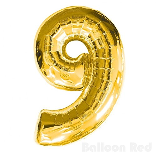 Number 9 Giant Jumbo Helium Foil Mylar Balloons, 40 inch, Glossy Gold, Premium Quality, for 9th Birthday Party