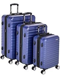 "AmazonBasics Premium Hardside Spinner Luggage with Built-in TSA Lock - 3-Piece Set (20"", 24"", 28""), Blue"