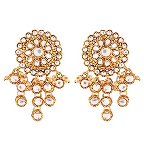 (Aheli Elegant Indian Traditional White Pearl Kundan Floral Design Drop Dangle Earrings Bollywood Party Wedding Jewelry for Women Girls)