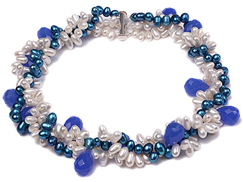 JYX Three-strand Azure and White Freshwater Pearl Necklace Dotted with Light-blue Colored Crystal