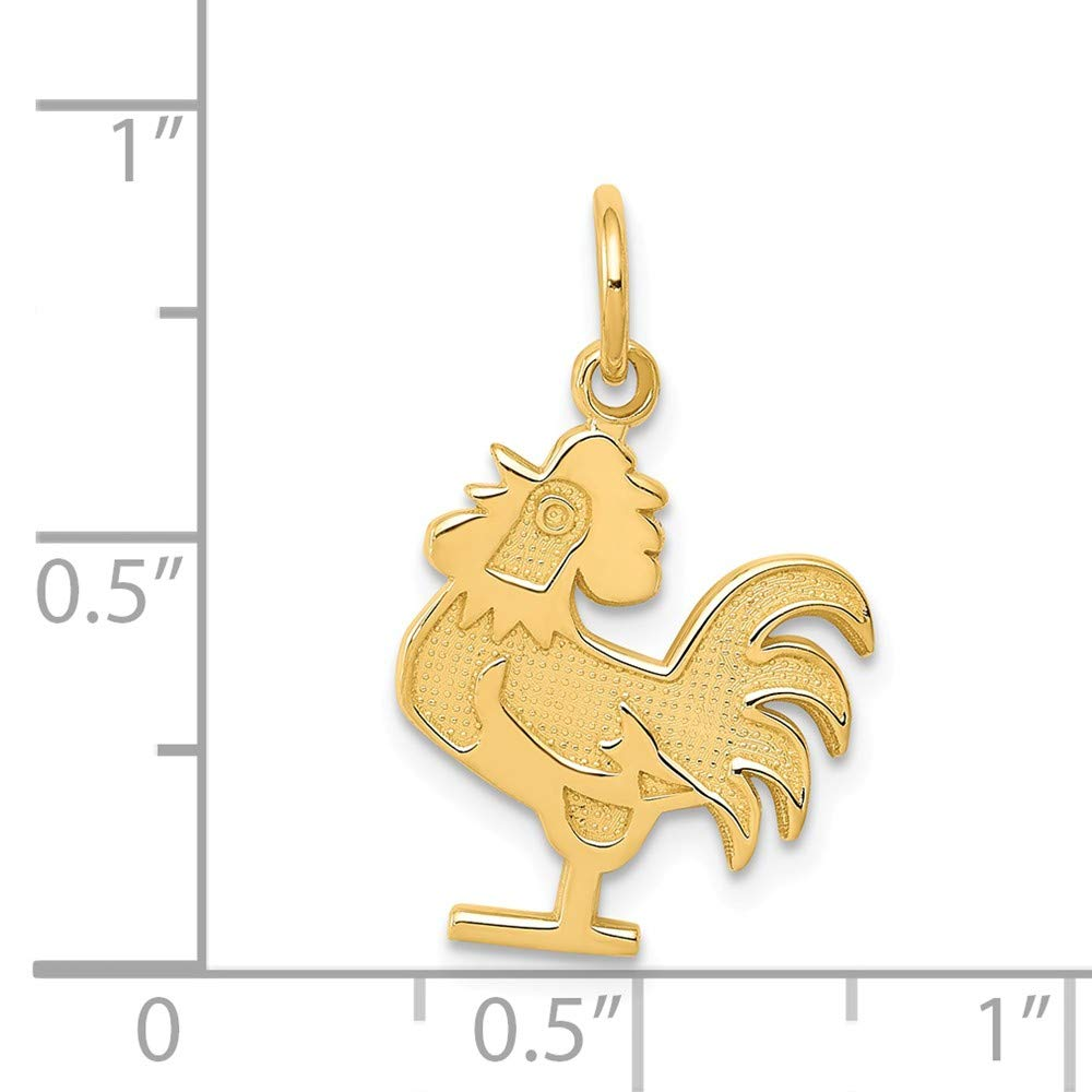 Jewel Tie 14K Yellow Gold Rooster Charm 0.85 in x 0.51 in