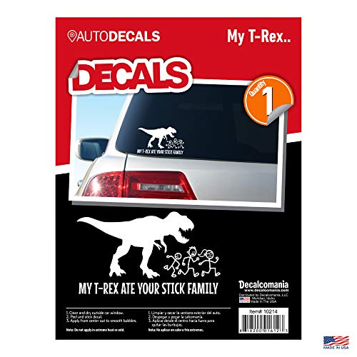 - My T-Rex Ate Your Stick Family White Car Truck Window Stickers Dinosaur Funny Window Decal