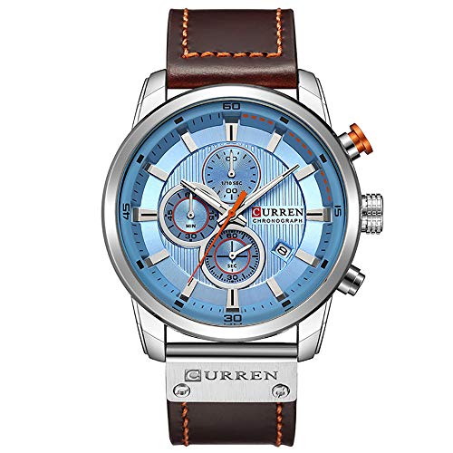 Men's Stylish Sport Chronograph Quartz Wrist Watch Brown Leather Band Classic Blue Dial with ()