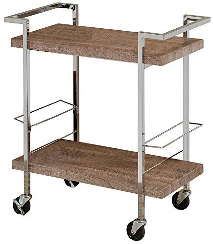Reclaimed Wood Look Chrome Metal Bar Tea Wine Holder Serving Cart