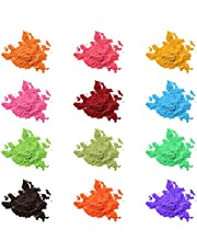 Mica Powder Pigment 12 Color,Non-Toxic Safe Natural Epoxy Resin Dye Pigment Powder for DIY Slime Coloring and Soap Dye Making Supplies,Bath Bomb Colorant,Paint,Makeup Dye,Nail Art,Eye Shadow, Craft